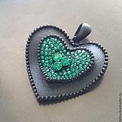 Материалы для творчества handmade. Livemaster - original item Pendant pendant art. 7-19 in the form of heart with black matte finish. Handmade.