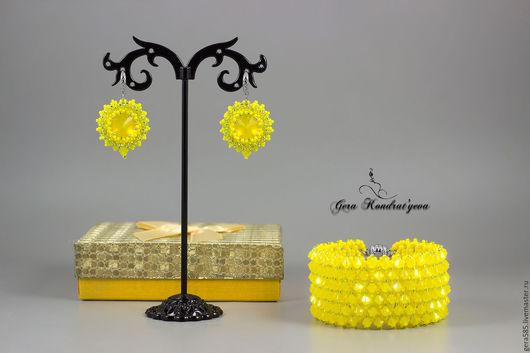 """Комплекты украшений ручной работы. Ярмарка Мастеров - ручная работа. Купить Комплект """"Limoncello"""". Handmade. Желтый, лимонный, серьги"""