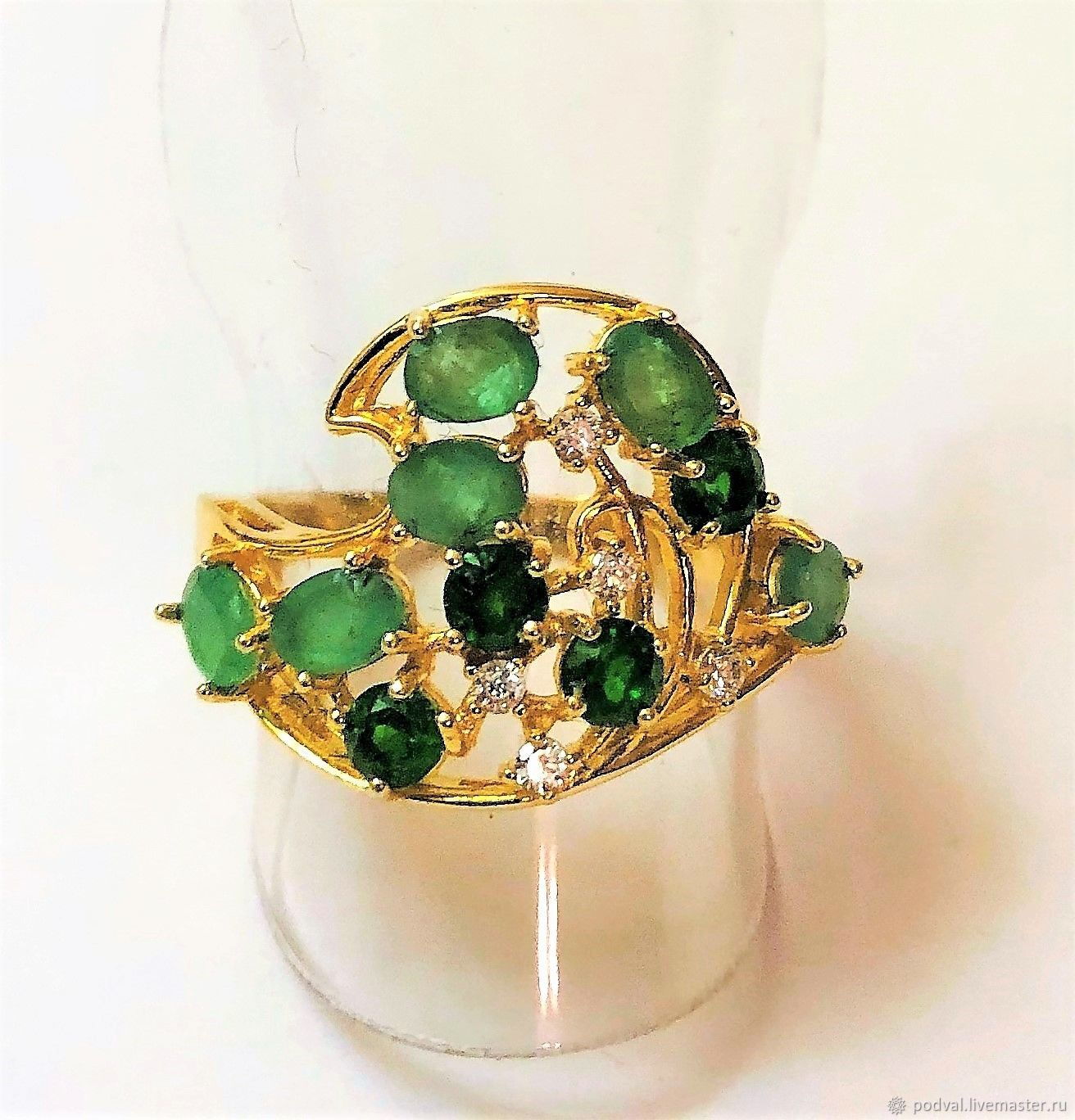 Silver ring with natural emeralds and chromdiopside, Rings, Korolev,  Фото №1