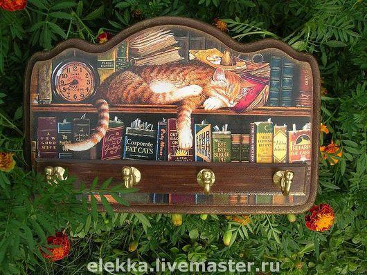 """Прихожая ручной работы. Ярмарка Мастеров - ручная работа. Купить Ключница """"Книжный кот"""". Handmade. Для дома, кот"""