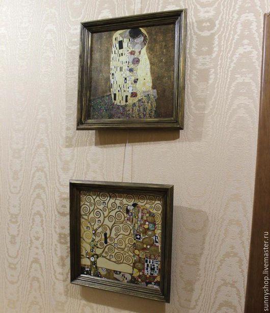 Репродукции ручной работы. Ярмарка Мастеров - ручная работа. Купить Картина в раме (печать на холсте) серия Климт (поцелуй, древо жизни). Handmade.