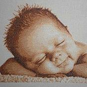 """Для дома и интерьера ручной работы. Ярмарка Мастеров - ручная работа Вышитая Детская метрика """"Малыш"""". Handmade."""