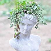 Дача и сад handmade. Livemaster - original item Bust of girl Teresa with planters in head Vintage garden aged decor. Handmade.