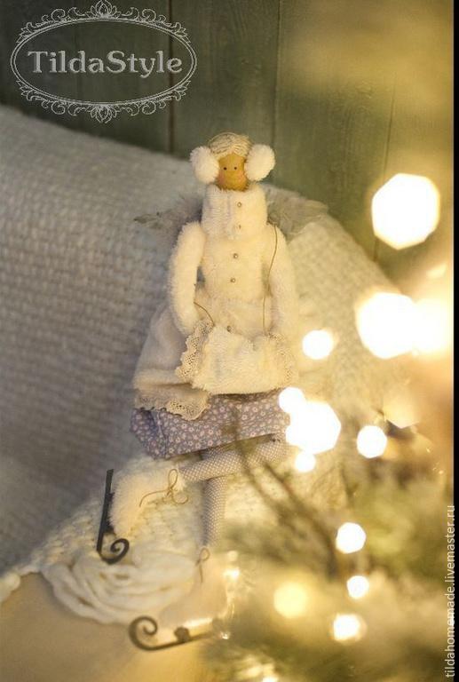 Куклы Тильды ручной работы. Ярмарка Мастеров - ручная работа. Купить Кукла интерьерная Ангел на коньках. Handmade. Белый