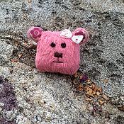Украшения ручной работы. Ярмарка Мастеров - ручная работа Брошка мишка тедди розовый. Handmade.