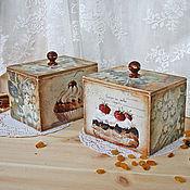 """Для дома и интерьера ручной работы. Ярмарка Мастеров - ручная работа Набор коробочек для продуктов """"Воздушные пирожные"""". Handmade."""