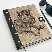 Канцелярские товары handmade. Livemaster - original item Wooden notebook with a leather cover