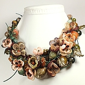 Украшения handmade. Livemaster - original item Dreams Forest River. Necklace, earrings, handmade flowers from fabric.. Handmade.