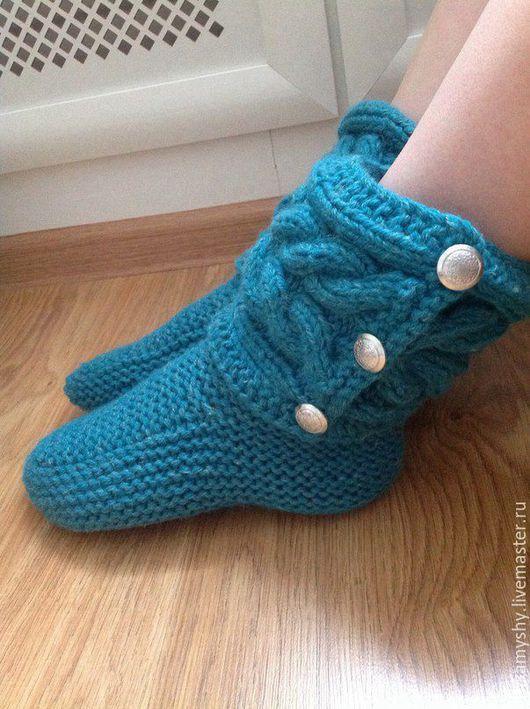 Обувь ручной работы. Ярмарка Мастеров - ручная работа. Купить Носочки-сапожки вязаные домашние. Handmade. Тёмно-бирюзовый, Сапожки