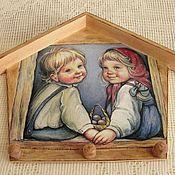 Для дома и интерьера ручной работы. Ярмарка Мастеров - ручная работа Панно-ключница-вешалка  Детки. Handmade.