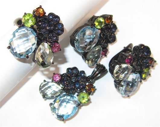Комплекты украшений ручной работы. Ярмарка Мастеров - ручная работа. Купить Серьги, кольцо, кулон с топазом, аметистом, самоцветами серебряные. Handmade.