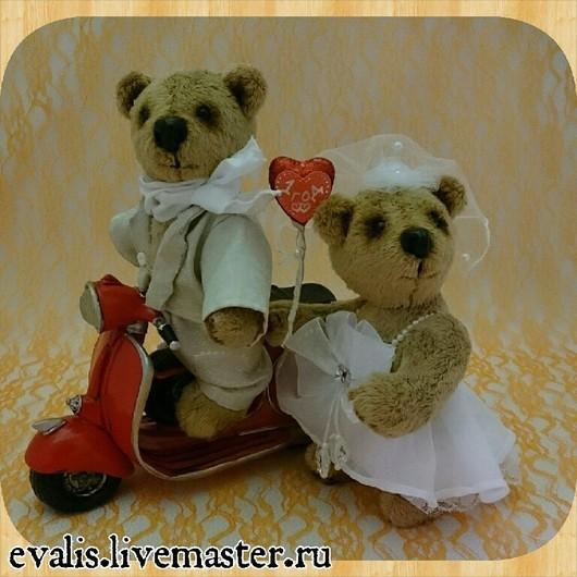 Мишки Тедди ручной работы. Ярмарка Мастеров - ручная работа. Купить Мишки Свадебные. Handmade. Ярко-красный, свадебные мишки