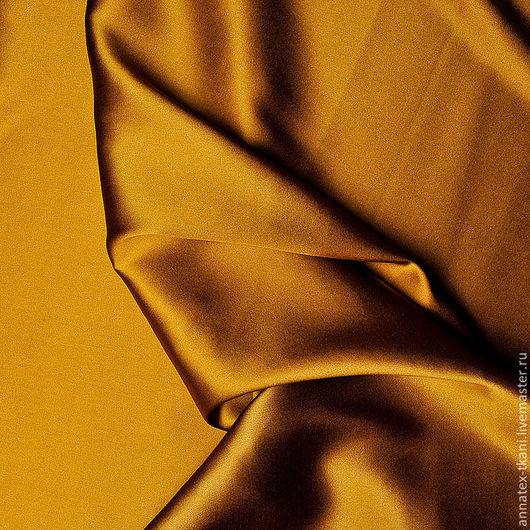 Натуральный шелк - атлас  цвет - горчичный
