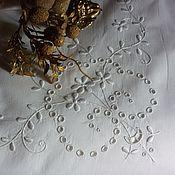 "Винтаж ручной работы. Ярмарка Мастеров - ручная работа Винтажная вышивка для наволочки ""Белая гладь"". Handmade."