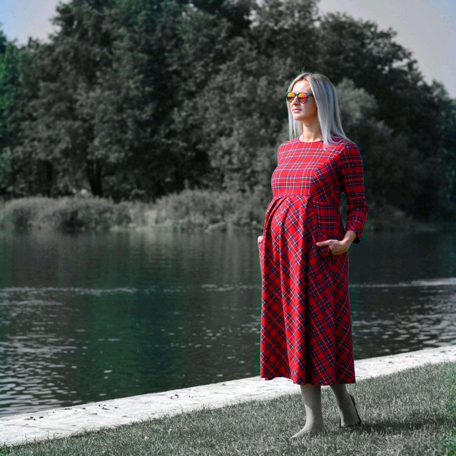 Платье для беременных из шотландки, Платья, Москва,  Фото №1