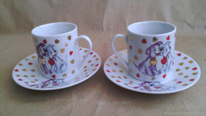 Винтажная посуда. Ярмарка Мастеров - ручная работа. Купить Винтаж: Две кофейные пары с долматинцами. Handmade. Детский, кукольная посуда