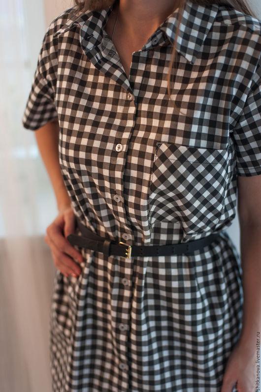 Платья ручной работы. Ярмарка Мастеров - ручная работа. Купить Платье рубашка из хлопка.. Handmade. Комбинированный, платье в клетку, лето