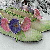 """Обувь ручной работы. Ярмарка Мастеров - ручная работа Валеночки для дома """"Луговые вьюнки"""". Handmade."""