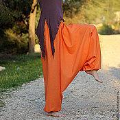 Одежда ручной работы. Ярмарка Мастеров - ручная работа Aфгани оранжевые - лен с хлопком. Handmade.
