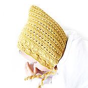 Работы для детей, manualidades. Livemaster - hecho a mano gorro para recién nacido tejido gorro para niñas en el extracto amarillo. Handmade.