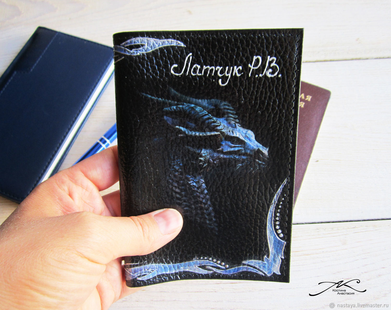 Passport cover men's genuine leather black Dragon, Cover, Barnaul,  Фото №1