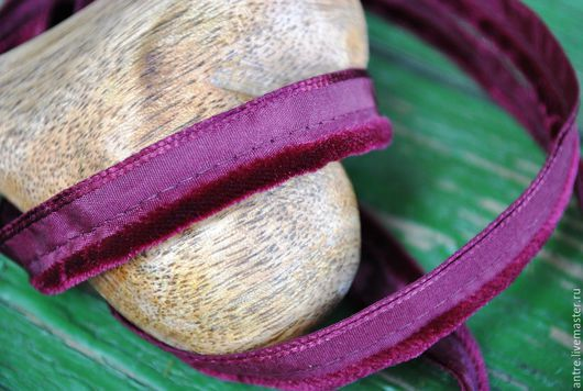 Шитье ручной работы. Ярмарка Мастеров - ручная работа. Купить Двойной кант с бархатной полосой Бордо (Франция). Handmade. Лента