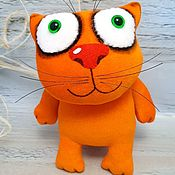 Куклы и игрушки handmade. Livemaster - original item Plush soft toy ginger cat fat, moveable frame seal. Handmade.