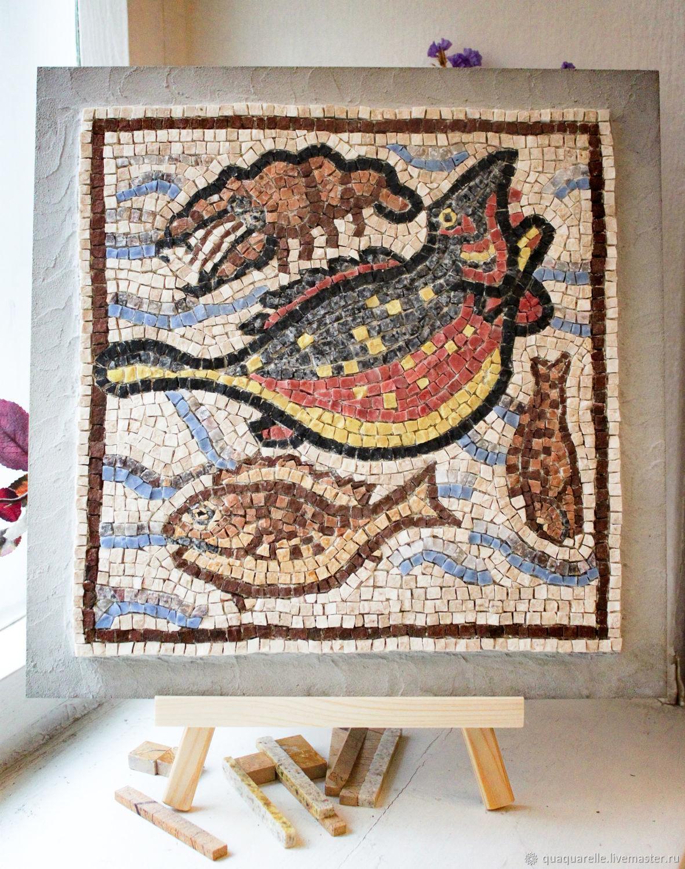 Римская мозаика с рыбами и креветкой