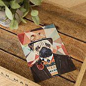 Открытки handmade. Livemaster - original item Set of postcards with the pug. 4 pieces. Handmade.