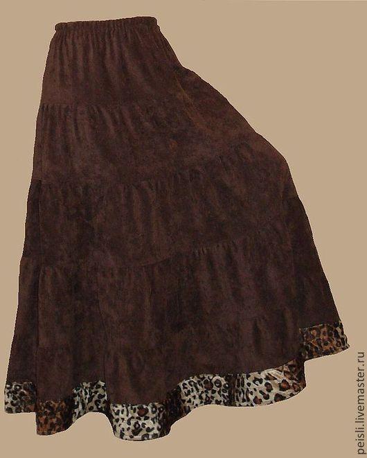 """Юбки ручной работы. Ярмарка Мастеров - ручная работа. Купить Юбка длинная вельветовая коричневая с каймой """"Шоколад"""". Handmade."""
