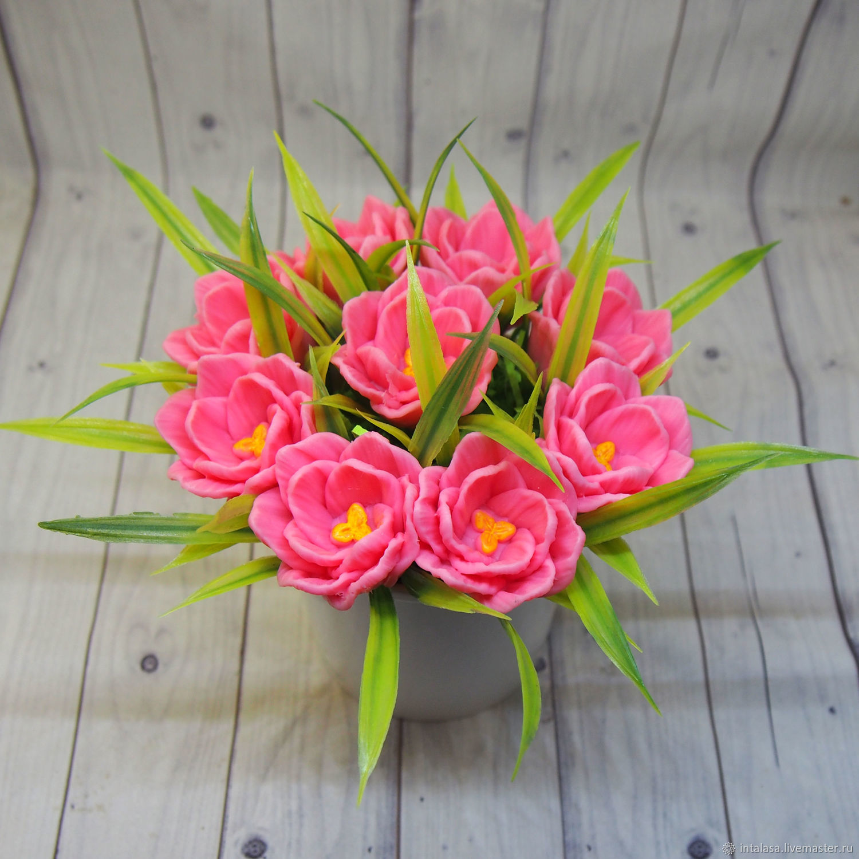 Маленький мыльный букет из розовых тюльпанов, Мыло, Москва,  Фото №1