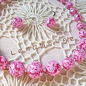 Украшения ручной работы. Ярмарка Мастеров - ручная работа Комплект (бусы+сережки) Пестрый Розовый. Handmade.