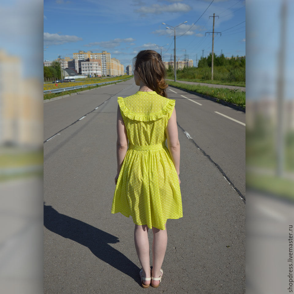 0434daa2a4c Thanks to the excellent composition Bright summer color dress `lime` 100%  cotton. Thanks to the excellent composition