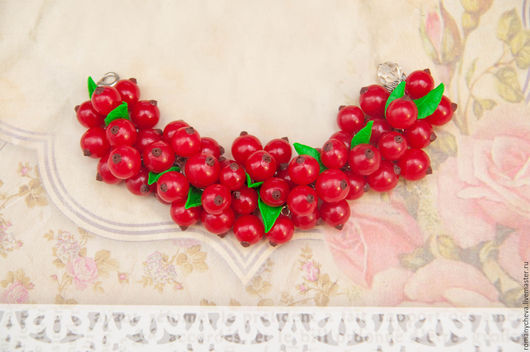 Браслеты ручной работы. Ярмарка Мастеров - ручная работа. Купить Браслет с ягодами красной смородины. Handmade. Ярко-красный, ягоды