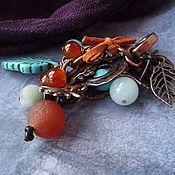 Брелок ручной работы. Ярмарка Мастеров - ручная работа Брелок на сумку или ключи Шоколад и бирюза. Handmade.
