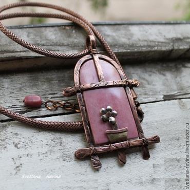"""Украшения ручной работы. Ярмарка Мастеров - ручная работа медный кулон """"Окно в розовые мечты""""  с родонитом. Handmade."""