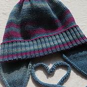 Работы для детей, ручной работы. Ярмарка Мастеров - ручная работа Осенняя шапочка для девочки из мериноса и шелка. Handmade.