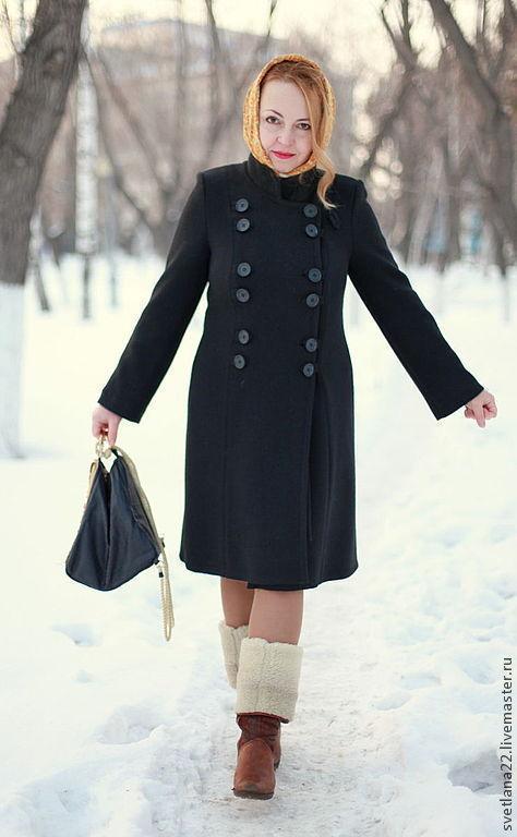 """Верхняя одежда ручной работы. Ярмарка Мастеров - ручная работа. Купить Вязаное пальто """"Черное, классическое"""". Handmade. Черный, шерсть"""