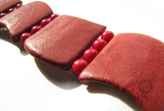"""Браслет из кожи и кораллов. Дизайн-студия """"ODIZ"""". Handmade браслеты"""
