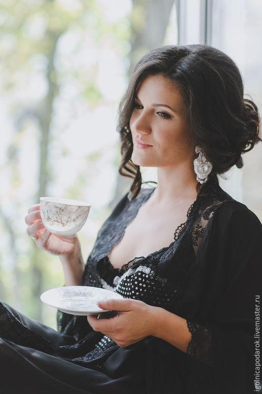"""Белье ручной работы. Ярмарка Мастеров - ручная работа. Купить """"Романтичное утро"""" - Длинный шифоновый пеньюар. Handmade. Богиня, соблазн"""