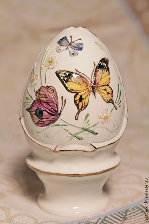 """Подарки на Пасху ручной работы. Ярмарка Мастеров - ручная работа. Купить Яйцо Пасхальное фарфоровое """"Бабочки"""". Handmade. Разноцветный, Пасха"""