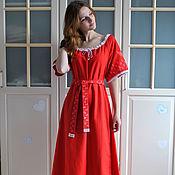Одежда handmade. Livemaster - original item Boho red linen dress with the author`s painting