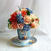 """Цветы и флористика ручной работы. Ярмарка Мастеров - ручная работа Букет """"Королевский ультрамарин"""". Handmade."""