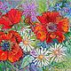 Позитивная картина маки, купить - Ярко-красные маки и белые россыпи ромашек на фоне зеленого ковра июньского разнотравья