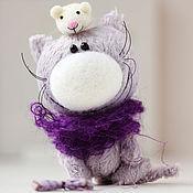 Куклы и игрушки ручной работы. Ярмарка Мастеров - ручная работа Котик с другом мышонком - подарок!. Handmade.