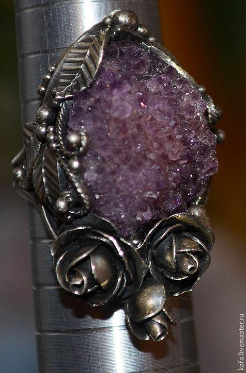 Кольца ручной работы. Ярмарка Мастеров - ручная работа. Купить кольцо с аметистовой щеткой - миниатюрное. Handmade. Фиолетовый, аметистовая щётка