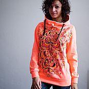Sweater Jackets handmade. Livemaster - original item Sweatshirt Orange. Handmade.