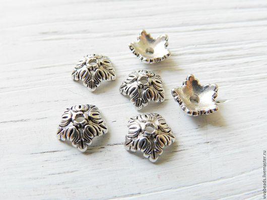 Шапочка для бусин цвет античное серебро, размер 10*4 мм, отверстие 1 мм, материал - сплав металлов, не содержит никеля, свинца (арт. 2238)
