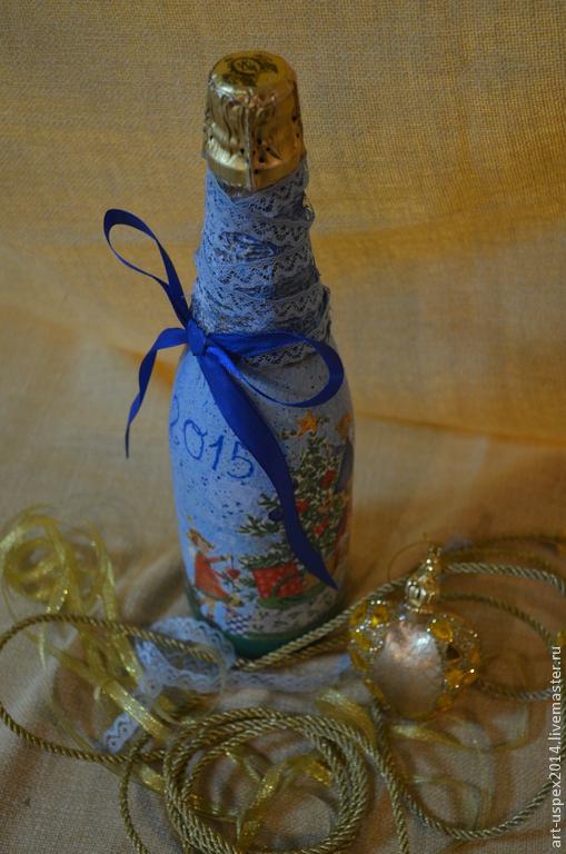 Новый год 2017 ручной работы. Ярмарка Мастеров - ручная работа. Купить прекрасный подарок!бутылка в техника декупаж,подарочное шампанское. Handmade.