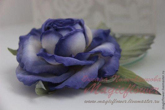 Броши ручной работы. Ярмарка Мастеров - ручная работа. Купить Брошь заколка Роза Таис-2. Цветы из ткани. Цветы из шелка. Handmade.